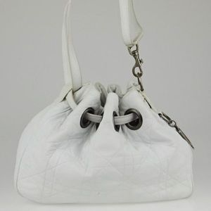 Dior Drawstring Cannage Quilted White Leather Hobo